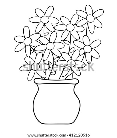 Flower Pot Coloring Page Stock Vector Royalty Free 412120516