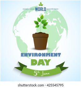 Flower Pot with green ribbon and earth for world environment day.Vector
