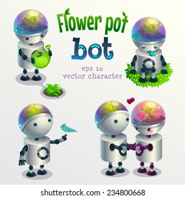 Flower pot robot. Set of vector characters in different poses. Isolated on white background.