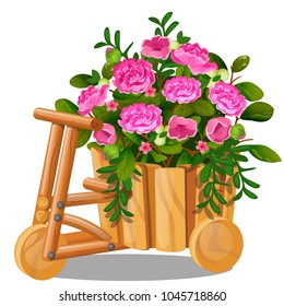 Flower pot in the shape of wooden cart with bucket with pink flowers isolated on white background. Vector cartoon close-up illustration.