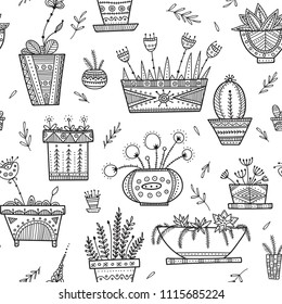 Flower pots and house plants seamless pattern in ethnic ornate boho style. Can be printed and used as wrapping paper, home decoration, wallpaper, textile, fabric, coloring page, etc.