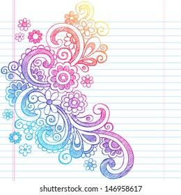 Flower Power Back to School Sketchy Notebook Doodles-Illustration Design on Lined Sketchbook Paper Background