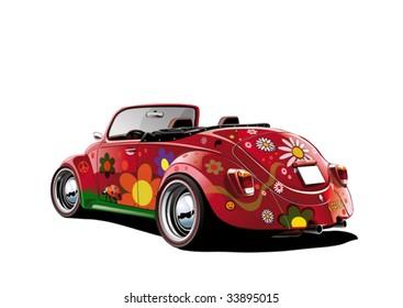 flower power convertible, vector illustration