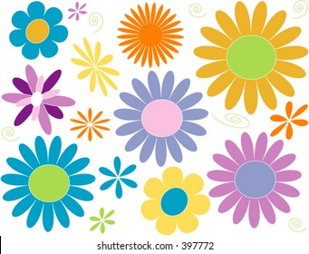 Flower Power Daisy design elements in pastel brights