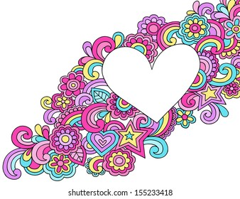 Flower Power Peace & Love Groovy Psychedelic Notebook Doodles Heart Frame Vector Illustration