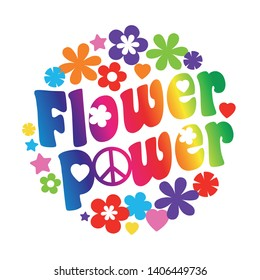 Flower power typography in a circle with flowers and peace and love sign