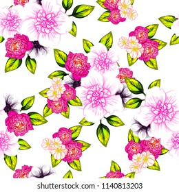 Flower print in bright colors. Elegance seamless pattern.