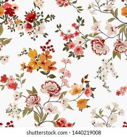 Flower print elegance seamless pattern in vector