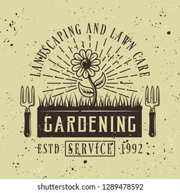 Flower with rays vector colored emblem, badge, label or logo for gardening service on green background