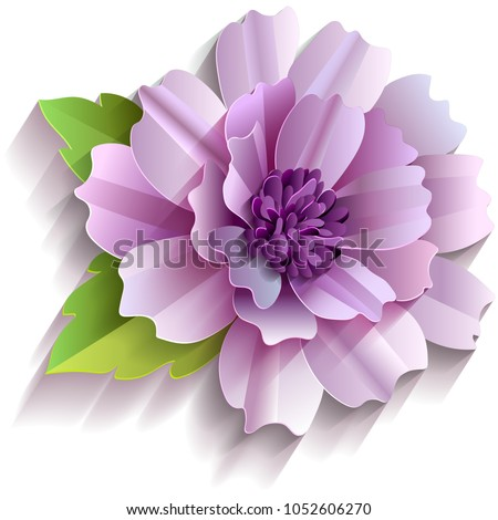 Flower Recycled Paper Stick On White Stock Vector Royalty Free