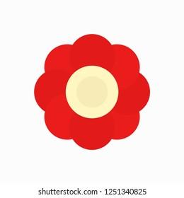 Flower. Red flower. Flower logo. Vector illustration. EPS 10.