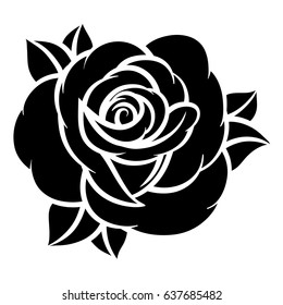 Flower rose, black and white. Isolated on white background. Vector illustration.