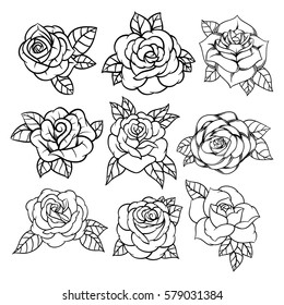 Flower rose, black and white. Set collection. Isolated on white background. Vector illustration.