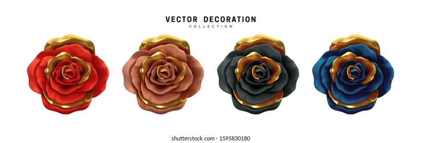 Flower Rose, buds set isolated on white background. Roses 3d Multicolored Chameleon color. Collection of vector decorative design elements.