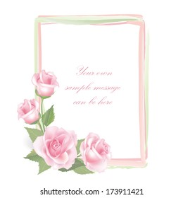 Flower Rose frame isolated on white background. Floral vector decor.