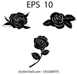 Flower rose icon. Set of decorative rose silhouettes. Transparent backrgound