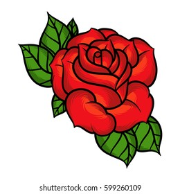 Flower rose, red buds and green leaves. Isolated on white background. Vector illustration.