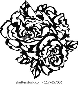 Flower rose sketch hand drawing for fashion trendy tattoo design, laser cut. Stylish floral icon