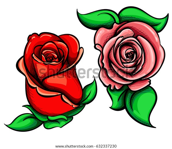 Flower roses illustration Hand drawn flower set, rose collection.