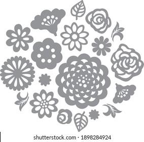 Flower roses leaves vector set. Clipart templates for laser cut, papercut, silhouette stencil cameo cricut.