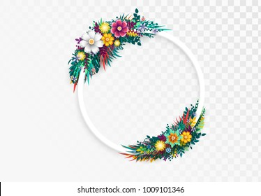 Flower round frame, isolated on transparent background. Floral colorful branches with buds. Template blooming flowers for wedding invitations and greeting card design.