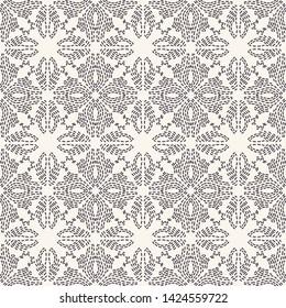 Flower running stitch embroidery pattern. Simple needlework seamless vector background. Hand drawn geometric floral mosaic textile print. Ecru cream handicraft home decor. Monochrome sashiko style.