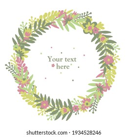 Flower scandinavian doodle spring (or summer) wreath with multicolored flowers and leaves (green, pink, yellowgreen). White isolated vector stock illustration (EPS10).