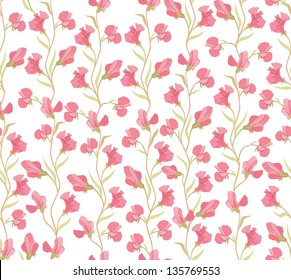 flower seamless background. floral seamless pattern with lilac and pink sweet pea.
