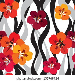 flower seamless background. floral seamless wallpaper. Red flower bouquets wavy pattern. floral seamless texture with Indian cress flowers.