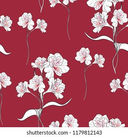 Flower seamless pattern with beautiful  alstroemeria lily flowers on dark red background template. Vector set of blooming floral for wedding invitations and greeting card design.