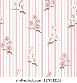 Flower seamless pattern with beautiful alstroemeria lily flowers on striped background template. Vector set of blooming floral for wedding invitations and greeting card design.