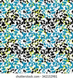 Flower seamless pattern with blue, green and black elements on white background