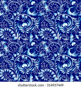 Flower seamless pattern with elements of folk gzhel style or Chinese porcelain painting. Dark blue background. Vector illustration.