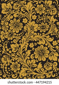 Flower seamless pattern with elements of folk Khokhloma style. A floral pattern in black and golden colours. Vector illustration.