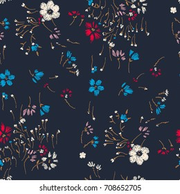 Flower seamless pattern. Field herbs daisy textile print decoration dark blue background fashion traditional vector illustration vintage. Chamomile plant floral ditsy ornament art.