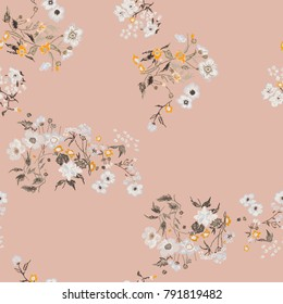 Flower seamless pattern. Field herbs daisy textile print decoration pink background fashion traditional vector illustration vintage. Chamomile plant floral ditsy ornament art.