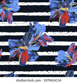Flower seamless pattern. Floral stripe print. Vector illustration. Watercolor style