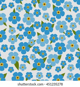 Flower seamless pattern with forget-me-not