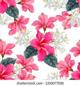 Flower seamless pattern with hibiscus and agapanthus -vector