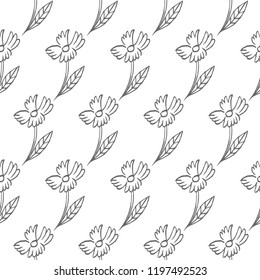flower seamless pattern isolated on white background