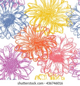 Flower seamless pattern. Repeating abstract floral background