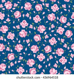Flower seamless pattern vector. Simple floral print with rose.