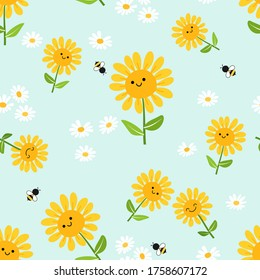 Flower seamless with sunflower, daisy, green leaves and flying cartoon bees on pastel green background. Cute floral pattern.