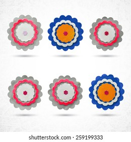 Flower set for design, set of 6 items, made of paper, plasticine, dough, clay or cardboard and glue, cut out with scissors. Grunge, highly textured. Design elements, craft and hobby activity.