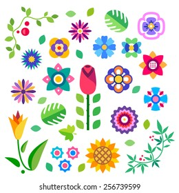 Flower set in a flat style Flower set. Spring flowers, buds and leaves: rose , daisy, forget-me-not, tulip, sunflower, wild lily. Vector flat illustration