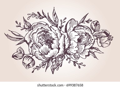 Flower set: highly detailed hand drawn flowers and leaves. Vector illustration