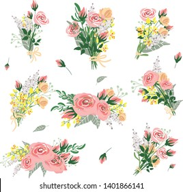 Flower set, Stickers set, Violet, orange and red flowers, wreaths, and other. Perfect for web, card, poster, cover, tag, invitation, sticker kit. Vector illustration.