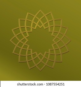 Flower shaped round vector seal or unit in metalic golden effect. Circular linear stamp for certificate design.