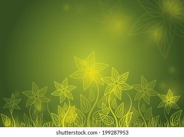 Flower shiny green background