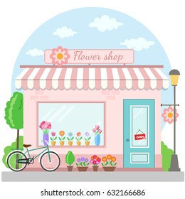 Flower shop building facade with bicycle. Vector illustration